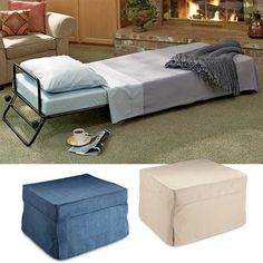 Tiny multi-purpose room seeks small furniture that will convert to two twin beds! Fold-out ottoman, fold-up ottoman, ottoman sleeper. Fold Out Ottoman Bed, Fold Out Beds, Folding Beds, Sleeper Ottoman, Sleeper Chair, Chair Bed, Multipurpose Furniture, Multipurpose Room, Small Furniture