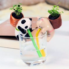 Cute Animal Self Watering Plant Pot   Pot material: pottery 4 styles available:  Rabbit (Mint)  Panda (Basil)  Pig (Clover)  Cat (Wild strawberry)  Includes a ceramic animal planter, plastic straw, seeds, soil and backpack pot,keeps 15-30℃ is fine,2-3 weeks the seeds will sprout. How to use: Put the flowerpot on a mug, and the water will following the straw into the pot.Please Note: The glass is NOT INCLUDED, any glass or mug is ok.