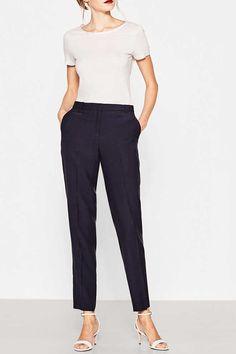 Esprit / Spodnie garniturowe z tkaniny z lnem