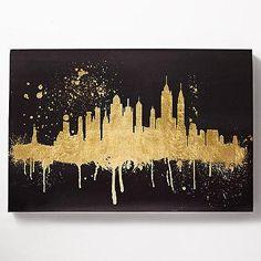 Skyline Metallic Gold Art for office