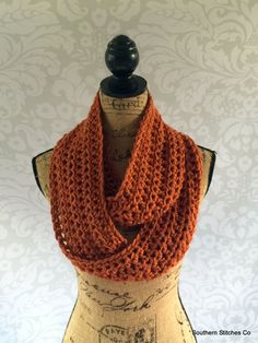 Ready To Ship Infinity Scarf Burnt Pumpkin by SouthernStitchesCo