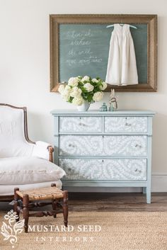 hand painted robin's egg blue dresser - Miss Mustard Seed