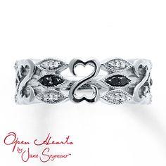 Black Diamond Ring 1/10 ct tw Diamonds Sterling Silver