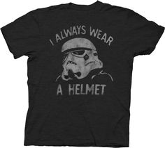 Junk Food Star Wars Stormtrooper I Always Wear a Helmet Charcoal Black  Adult T-shirt 55fd212d3d100