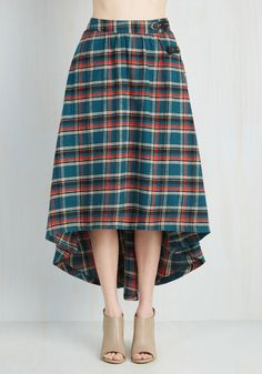 London is for Lovers Skirt in Teal. Strolling through cobblestone streets, you catch your reflection in the window and fall evermore in love with your tartan skirt. #green #modcloth