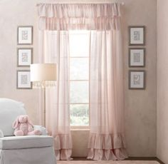 RH baby&child's Frayed Ruffle Drapery Panel:This charming collection borrows its heirloom appeal from a soft textural blend of cotton and linen. Unfinished edges lend a well-worn, relaxed note to the sweet ruffle trim.