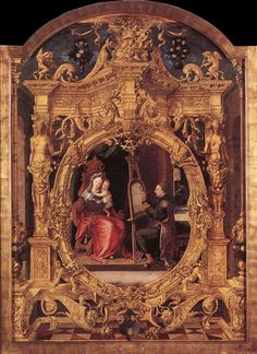 St Luke Painting the Virgin's Portrait, Lancelot Blondeel.  Flemish Northern Renaissance Painter (1498-1561)