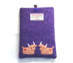 Purple Harris Tweed Kindle / iPad Mini / 7 Tablet by LoobieandBoo