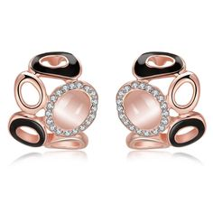 18K Rose Artistic Design Stud Earrings Made with Swarovksi Elements only only from Rubique Jewelry Jewelry, Women's