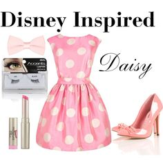 A fashion look from June 2012 featuring lining dress, pink high heel shoes and bow hair accessories. Movie Inspired Outfits, Disney Inspired, Daisy Costume, Pretty Outfits, Cute Outfits, Donald And Daisy Duck, Estilo Disney, Disney Outfits, Disney Clothes