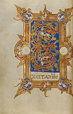 Inhabited Initial E (Getty Museum)