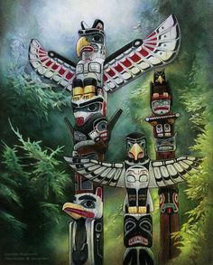 Done in high school in 2007. This was part of my concentration series which represented places I visited. Reference was used for the totem poles. This is most likely the last of my high school proj...