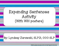 """This product includes """"WH"""" posters in 4 different color schemes. There are 2 differentiated levels for students to illustrate and expand sentences in writing related to """"WH"""" words. Contains student rubric with learning goal."""