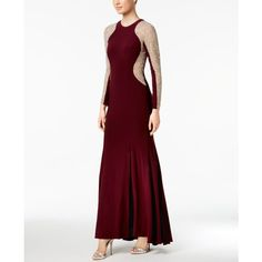 Xscape Long-Sleeve Studded Colorblocked Gown ($249) ❤ liked on Polyvore featuring dresses, gowns, color block dress, white slip, white evening dresses, long sleeve evening gowns and slip dress