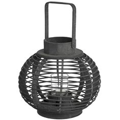 Dark brown round wooden woven lantern