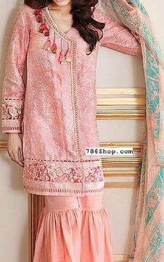 Peach Silk Linen Suit   Buy Gul Ahmed Eid Collection Pakistani Dresses and Clothing online in USA, UK