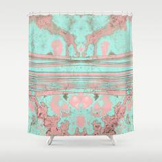 Penelope's Soul Shower Curtain #pink #turquoise #teal #aqua #mint #texture #fractal #soul #penelope #shape #pattern #design #art #creative #unique #society6 #splatter #shower #curtain #bath #bathroom #bathtub #tub #home #decor #decorative #decorate #pretty #dorm #pastel