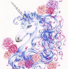 "Unicorn Fantasy Art Print, 8.5 x 11 Limited Edition Print, ""Ribbons and Roses"". via Etsy."