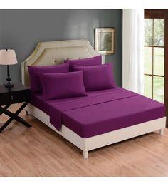 Honeymoon Brushed Microfiber 6PC Bedding Sheet Set, Sheet & Pillowcase Sets – Queen, Purple