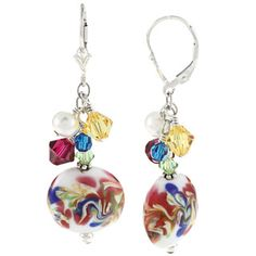 @Overstock - Lovely art glass beads dangle from these Charming Life earrings, along with a cluster of pink, yellow, blue and green Swarovski crystals and white freshwater pearls. This jewelry is crafted of sterling silver with leverback clasps.http://www.overstock.com/Jewelry-Watches/Charming-Life-Sterling-Silver-FW-Pearl-Glass-and-Crystal-Cluster-Earrings/6842907/product.html?CID=214117 $27.99