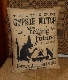 Little Old Gypsie Witch Telling Futures Primitive Country Autumn Fall Halloween Pillow Cupboard Tuck Sitter. $9.49, via Etsy.