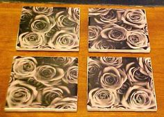 Black and White Roses image on Ceramic 4.25 x 4.25 by TwoPuppys