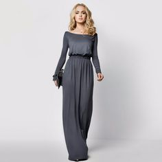 - Material: Polyester, Spandex - 4 Colors: Khaki, Gray, Coffee, Black - Collar: Boat neck - Sleeve: Long Sleeve - Dress Length: Full-Length - Pattern: Solid - Occasion: Casual, Party - Garment Care: H