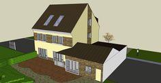 3D vizualizace domu - kamenný obklad - zezadu