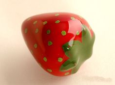 Strawberries Dresser Knob Pull Drawer Pulls Handles Knobs Ceramic Kitchen Cabinet Door Handle Pull Knob Baby Girls Children Hardware by LBFEEL on Etsy https://www.etsy.com/listing/172932681/strawberries-dresser-knob-pull-drawer