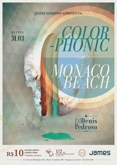 Colorphonic #poster #design I like that color combo ~ deep burnt Orange, apricot, meadow green, sea blue.