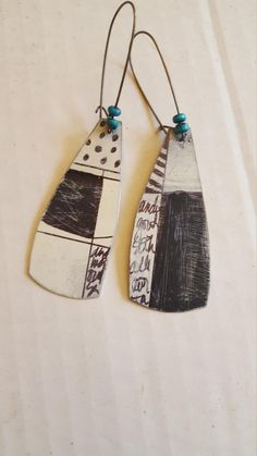 Black and white unmatched geometric stripes dots and doodles Ceramic Jewelry, Enamel Jewelry, Jewelry Art, Jewelry Gifts, Jewelry Accessories, Handmade Jewelry, Porcelain Jewelry, Girls Jewelry, Jewellery