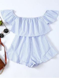 $14.99 Frilly Off The Shoulder Beach Romper - BLUE/WHITE S