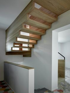 Built by ES-Arch in Villasanta, Italy This project comprises the reconstruction of the attic by modifying the volume of the building. Architecture Details, Interior Architecture, Building Design, Building A House, Beautiful Stairs, Stair Handrail, Attic Design, Stair Steps, Interior Stairs