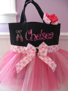 embroidered ballet bag with ballet slippers and matching hair bow