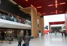 Larch glulam installation for the E16 Bakery at ExCel London