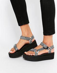 a4af4686149d Image 1 of Teva Flatform Universal Crackle Black Sandals Teva Flatform