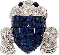 Sapphire, Diamond, White Gold Brooch