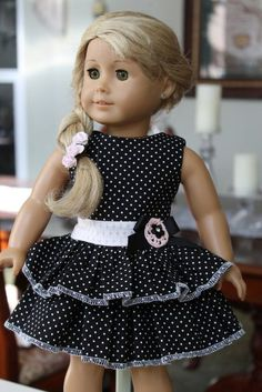 American Girl Sundress, 18 inch doll dress Madame Alexander clothing, doll dresses, Black and white polka dot party dress - 18 Inch American Girl Doll Clothing - American Girl Outfits, My American Girl Doll, American Girl Crafts, American Doll Clothes, Sewing Doll Clothes, Baby Doll Clothes, Doll Clothes Patterns, Doll Patterns, Dress Patterns