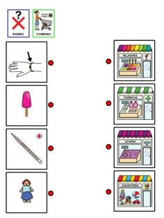 7.fichas donde compro cada producto Playing Cards, Games, Shopping, Middle, Study, Speech Language Therapy, Index Cards, Tents