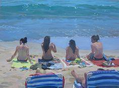 "Daily Paintworks - ""Sunbathers"" - Original Fine Art for Sale - © Kaethe Bealer Landscape Paintings, Ocean Painting, Beach Painting, Fine Art, Figure Painting, Female Art, Art, Beach Art, Marine Painting"