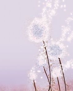 Purple Flower Dandelion Art  Perennial Moment by papermoth on Etsy, $18.00