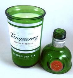 Upcycled famous brand Gin bottle crafted into an awesome candle with topper