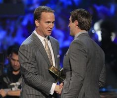 This makes my heart flutter.  Yes I love the NFL! Peyton Manning awarding Aaron Rodgers MVP 2011.
