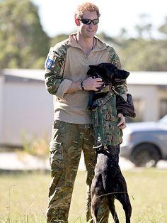 Príncipe Harry com um cachorro militar. (Foto: Reprodução / People)