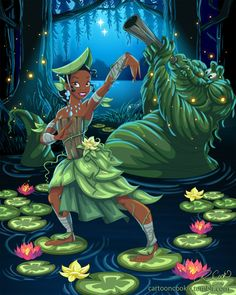 Avatar Tiana: Artist Robby Cook creatively merged Disney princesses with characters from Avatar: The Last Airbender. Here's Tiana as a Swamp Bender. Illustration by Robby Cook Disney Pixar, Disney Fan Art, Disney Animation, Disney E Dreamworks, Disney Love, Disney Magic, Disney Characters, Tiana Disney, Disney Stuff