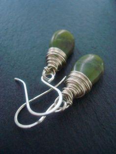 Petite olive jade and silver drop earrings by Weaversfield on Etsy, £18.00