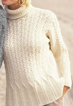 Free Knitting Pattern for Casual Cables Sweater - Love the hem though I'd probably change the collar. Long sleeved cable pullover features a stitch pattern that gives a flattering flare to the hem. Designed by Patons. Small, Medium, Large