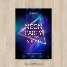 Neon party poster with colorful triangle Free Vector Dj Party, Neon Party, Party Flyer, Neon Design, Graphic Design Tips, Award Poster, Dj Logo, Poster Layout, Ui Design Inspiration