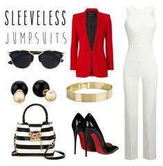 """Lolve "" by lizbeth-olvera ❤ liked on Polyvore featuring Roland Mouret, Betsey Johnson, Barbara Bui, Christian Louboutin, Christian Dior and sleevelessjumpsuits"