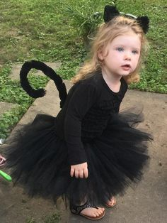 Black Cat Tutu - Black Cat Halloween Costume - Black Cat Costume for Toddler - Kitty Costume - Kitty Cat - Includes Tutu, Ears, and Tail. Black Cat Halloween Costume, Baby First Halloween Costume, Chat Halloween, Black Cat Costumes, Halloween Costumes For Girls, Girl Costumes, Children Costumes, Toddler Halloween, Halloween Halloween